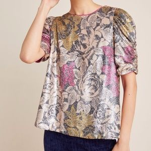 Anthropologie Marie Sequin Floral Blouse